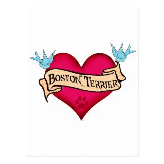 Boston Terrier Tattoo Heart Postcard