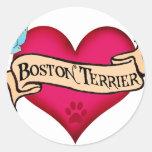 Boston Terrier Tattoo Heart Round Sticker