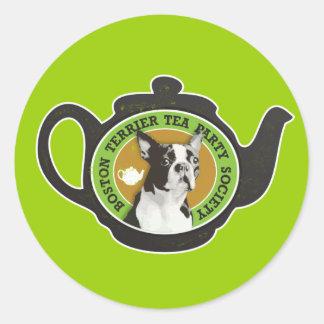 Boston Terrier Tea Party Society Classic Round Sticker