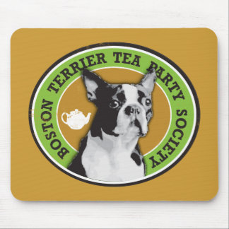 Boston Terrier Tea Party Society Mouse Pad