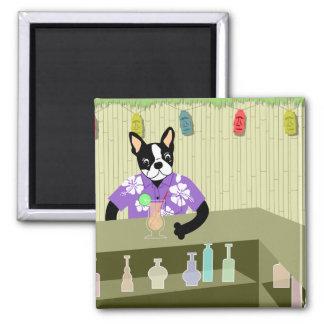 Boston Terrier Tiki Bar 2 Inch Square Magnet