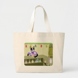 Boston Terrier Tiki Bar Canvas Bag