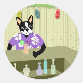 Boston Terrier Tiki Bar Round Sticker