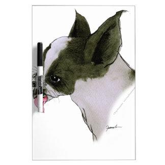 boston terrier, tony fernandes dry erase board