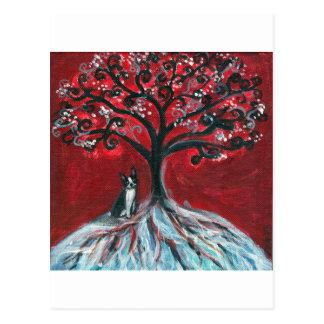 Boston Terrier Tree love Postcard