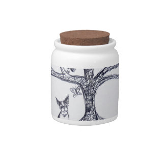 Boston Terrier Tree of Life Black and white Candy Jars
