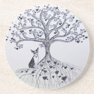 Boston Terrier Tree of Life Black and white Drink Coaster