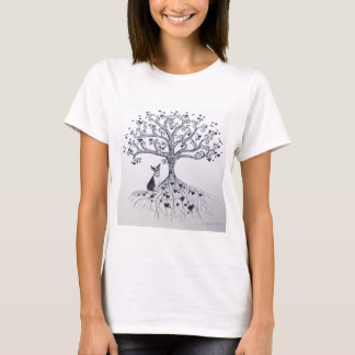 Boston Terrier Tree of Life Black and white T-Shirt
