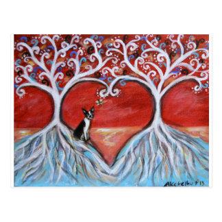 Boston Terrier Tree of Life Love Hearts Postcard