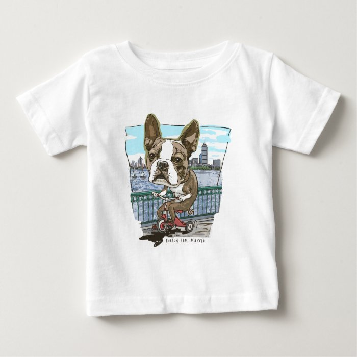 Boston Terrier Tricycle Baby T-Shirt