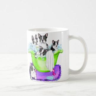 Boston Terrier Tub Full Classic White Coffee Mug