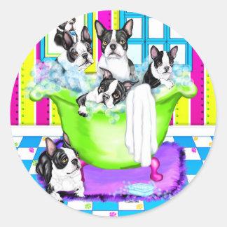 Boston Terrier Tub Full Round Stickers