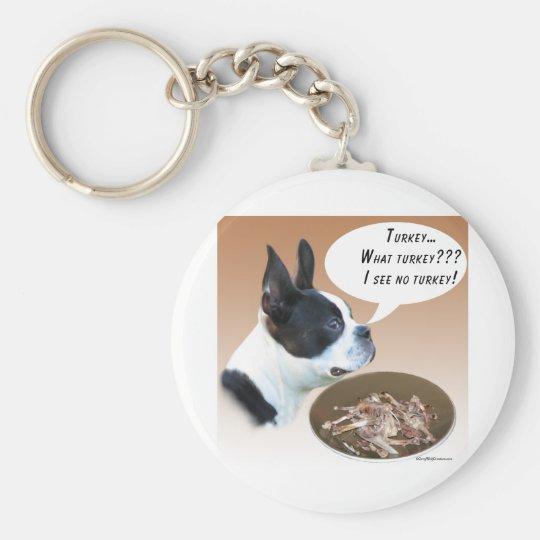 Boston Terrier Turkey Keychain