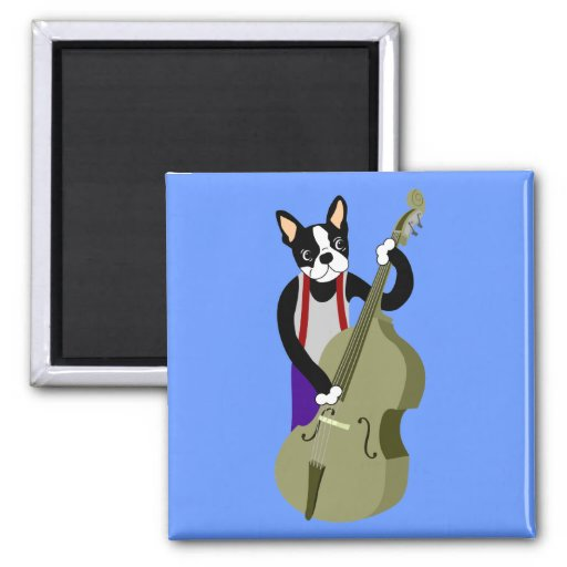 Boston Terrier Upright  Bass Player 2 Inch Square Magnet
