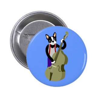 Boston Terrier Upright  Bass Player 2 Inch Round Button