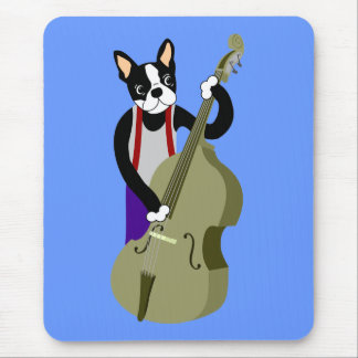 Boston Terrier Upright  Bass Player Mouse Pad
