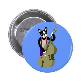 Boston Terrier Upright  Bass Player Pinback Button