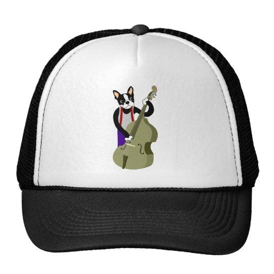 Boston Terrier Upright  Bass Player Trucker Hat
