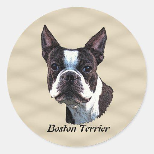 Boston Terrier v3 Etiquetas Redondas