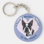 Boston Terrier v3 Llavero Redondo Tipo Pin