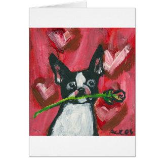 Boston Terrier Valentine Be Mine Heart Cards