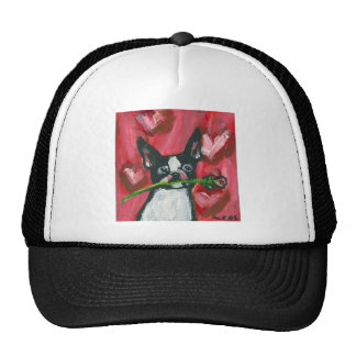 Boston Terrier Valentine Be Mine Heart Mesh Hat