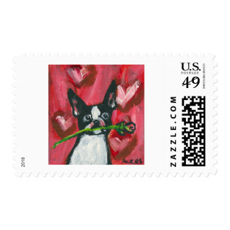 Boston Terrier Valentine Be Mine Heart Stamps