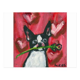 Boston Terrier Valentine Be Mine Heart Post Card