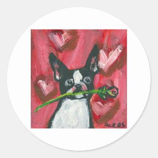 Boston Terrier Valentine Be Mine Heart Round Stickers