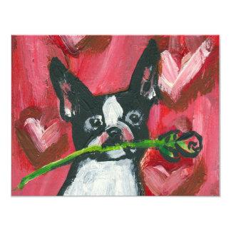 Boston Terrier Valentine Rose Card