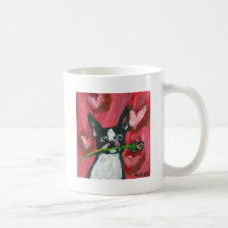 Boston Terrier Valentine Rose Coffee Mug