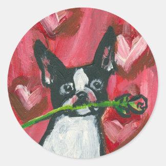 Boston Terrier Valentine Rose Round Sticker