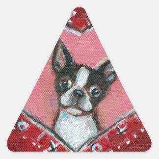 Boston Terrier Valentine xoxo Love hearts Triangle Sticker