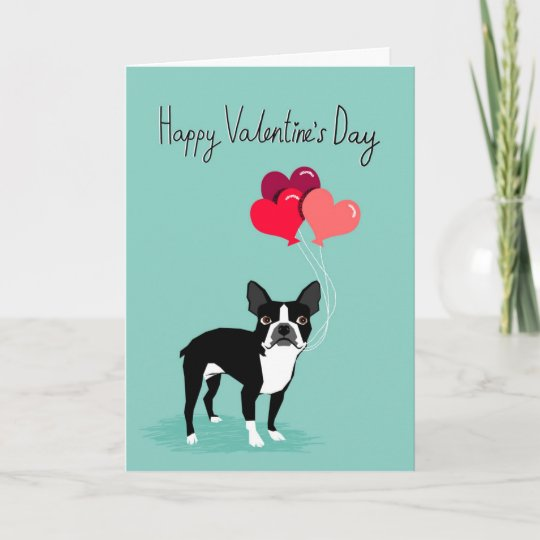 boston terrier valentines day card cute dog card - Dog Valentines Day Cards