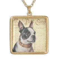 Boston Terrier Vintage Dog Portrait Boston Bull Gold Finish Necklace