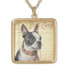 Boston Terrier Vintage Dog Portrait Boston Bull Gold Plated Necklace