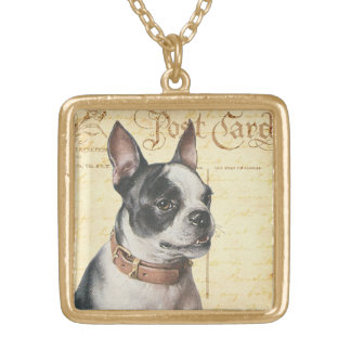 Boston Terrier Vintage Dog Portrait Boston Bull Gold Plated Necklace