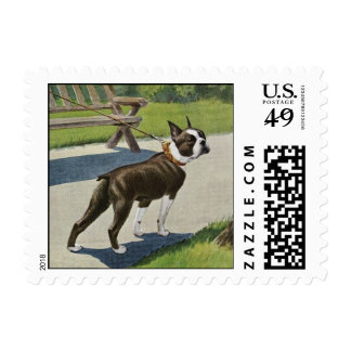 Boston Terrier Vintage Postage