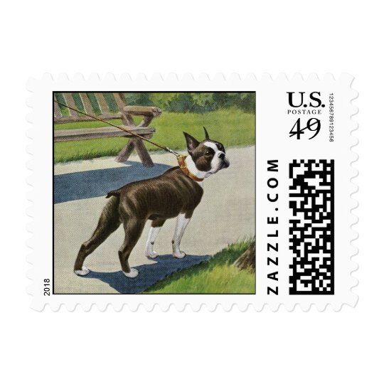 Boston Terrier Vintage Postage