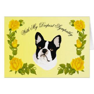 Boston Terrier w/ Yellow Roses, Sympathy, Pet Loss Card