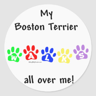 Boston Terrier Walks All Over Me Classic Round Sticker