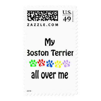 Boston Terrier Walks Design Postage