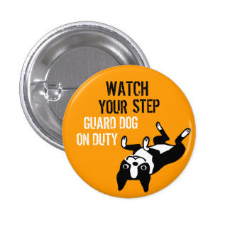 Boston Terrier Watch Your Step 1 Inch Round Button