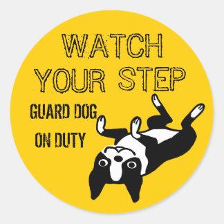 Boston Terrier Watch Your Step Classic Round Sticker