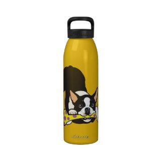 boston terrier reusable water bottle