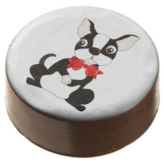 Boston Terrier Wearing Red Bow Tie Chocolate Covered Oreo