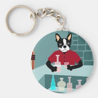Boston Terrier Whiskey Jukebox Key Chain