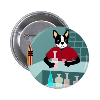 Boston Terrier Whiskey Jukebox Pinback Buttons