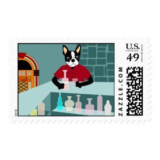 Boston Terrier Whiskey Jukebox Postage Stamp