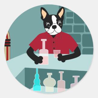 Boston Terrier Whiskey Jukebox Round Stickers